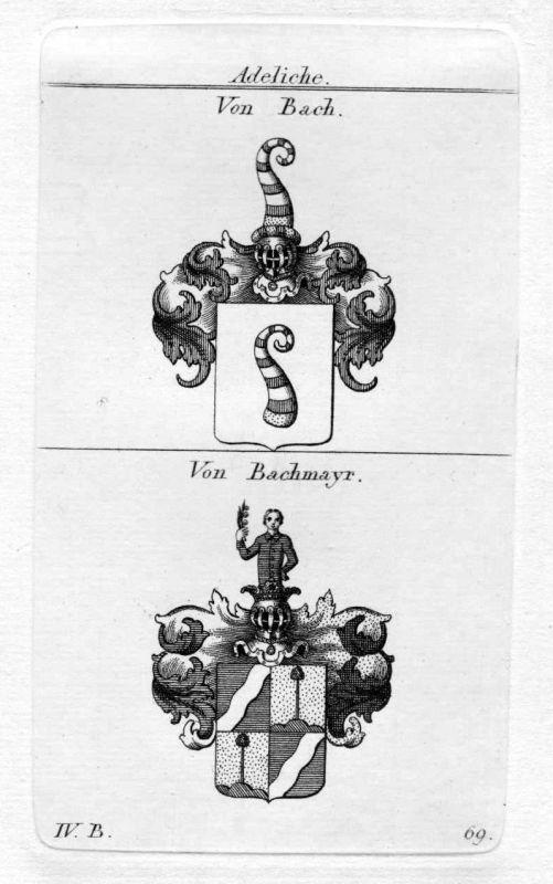 Bach Bachmayr - Wappen Adel coat of arms heraldry Heraldik Kupferstich
