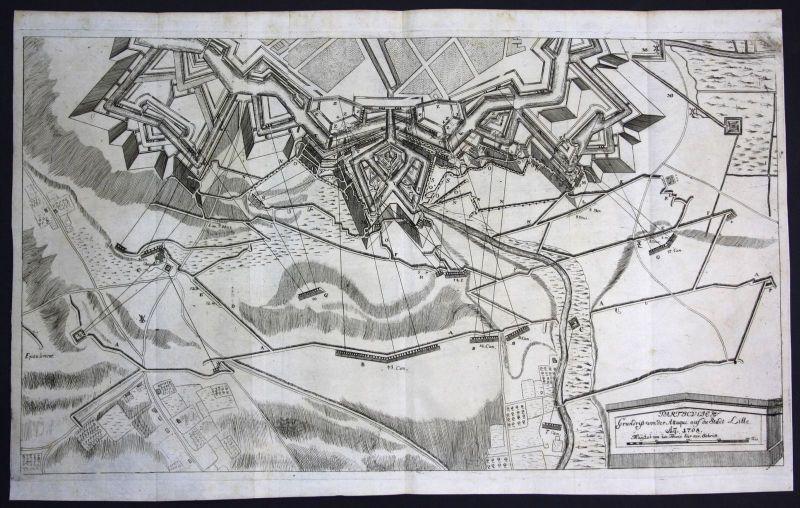 1708 Lille France gravure bataille battle plan Kupferstich antique print Merian