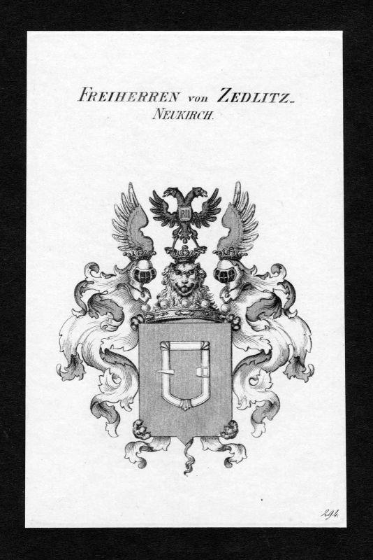 Ca. 1820 Zedlitz und Neukirch Wappen Adel coat of arms Kupferstich antique print