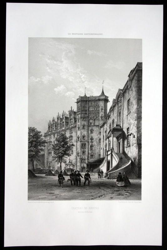 1860 - Chateau Schloss Nantes Bretagne Frankreich France Lithographie