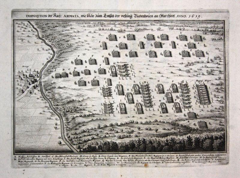 Ca 1645 Thionville siege bataille gravure plan Kupferstich antique print Merian