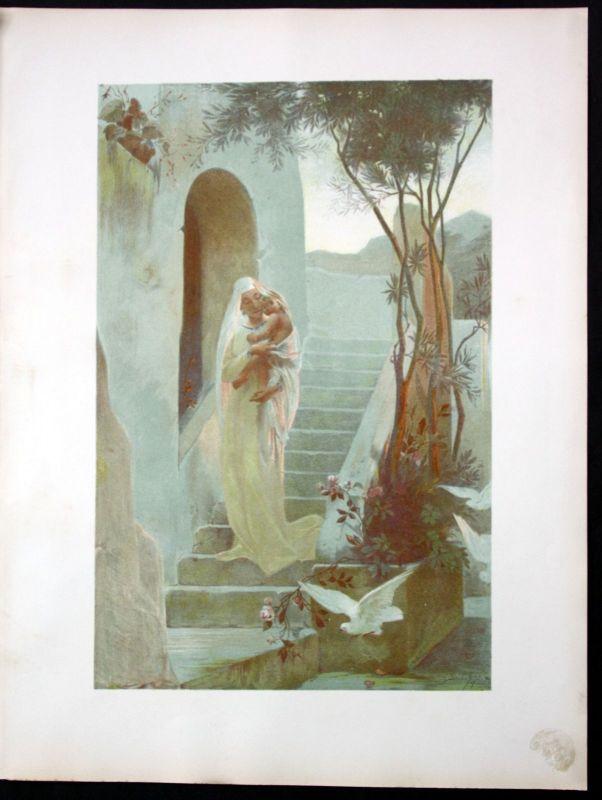 1897 Edouard Dubufe Art Nouveau Jugendstil Lithographie Poster estampe Moderne