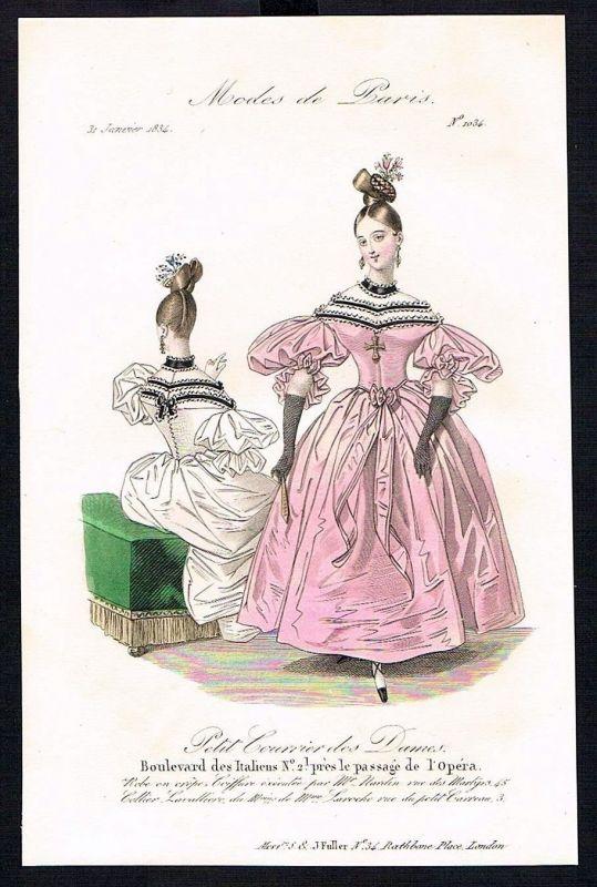 1833  Biedermeier Mode Kupferstich victorian fashion antique print Paris e 61700