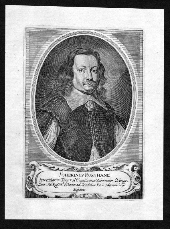 17. Jh. Schering Rosenhane Autor Portrait Kupferstich antique print