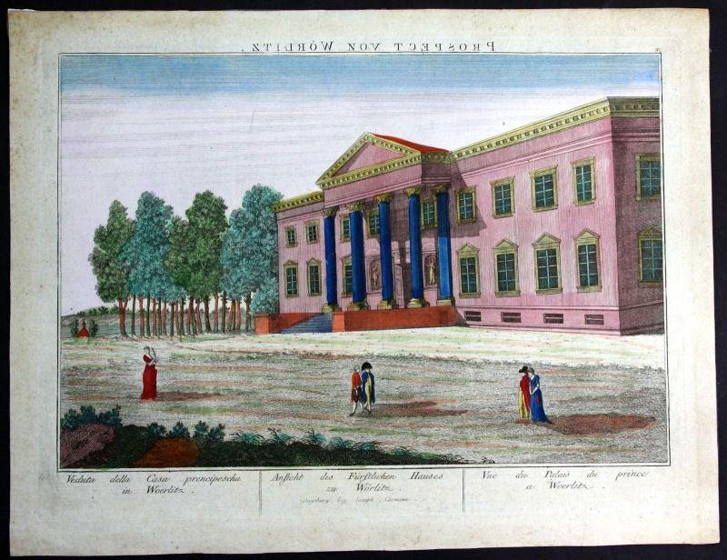 Ca. 1780 Schloss Wörlitz Ansicht Guckkastenblatt Kupferstich antique print