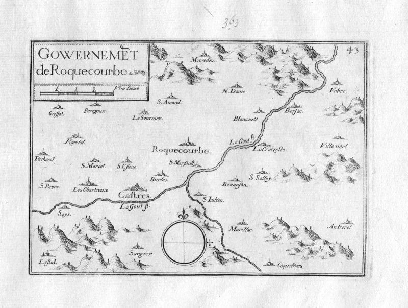 Ca. 1630 Roquecourbe Castres Tarn Frankreich France gravure carte Tassin