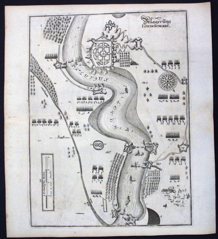 1698 Londonderry Ireland siege Ansicht view Kupferstich antique print Merian