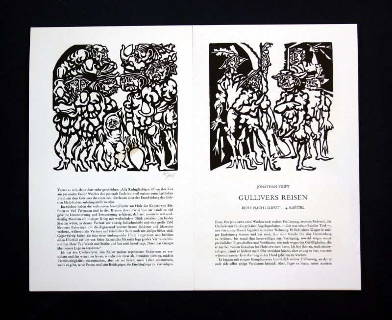 1968 Hermet Ripe Jonathan Swift Linolschnitt zu Gullivers Reisen signiert