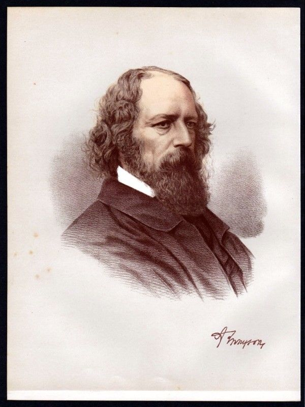 Alfred Tennyson (1809-1892) Dichter - Lithographie Portrait