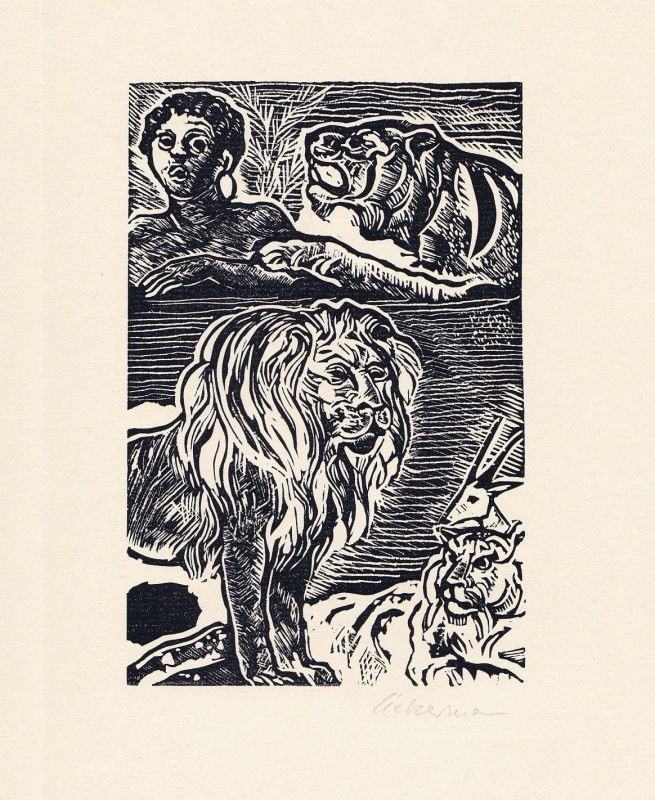 1982 Helmut Ackermann Joh. Wolfgang Goethe Linolschnitt zu Novelle signiert 0