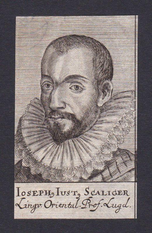 17. Jh. Joseph Justus Scaliger / scholar Professor Leiden Portrait Kupferstich