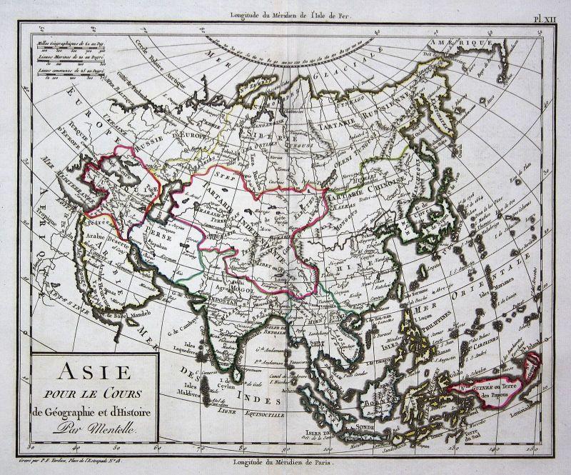 Asia Asien Japan China Korea Türkei Turkey Arabia Arabien Karte map Mentelle