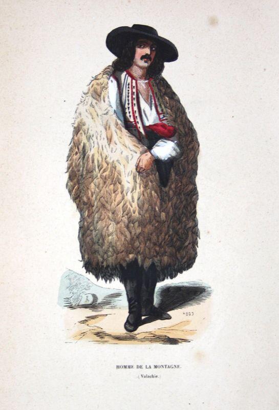 Ca. 1840 Walachei Rumänien Romania Trachten costumes Holzstich woodcut