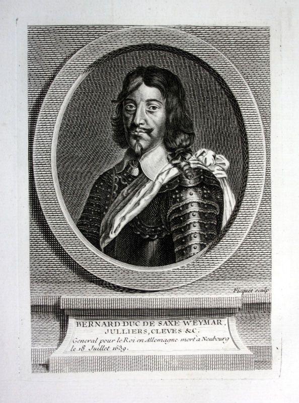 18. Jh. Bernhard von Sachsen Weimar Kupferstich Portrait engraving Krieg
