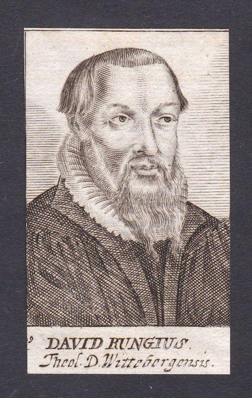 1680 David Runge / theologian Theologe Wittenberg Portrait Kupferstich