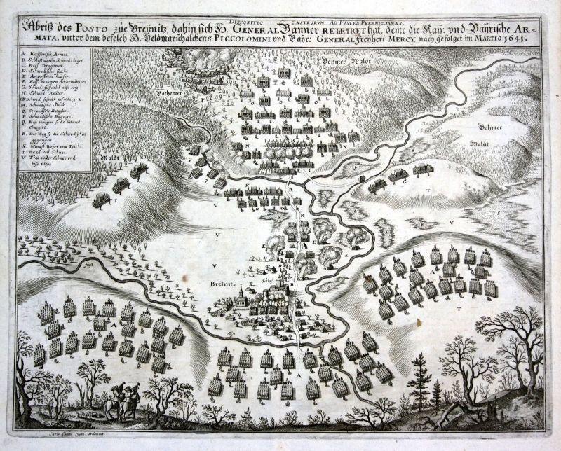 1645 Bresnitz  Brzeznica Polska Poland Ansicht Kupferstich antique print Merian