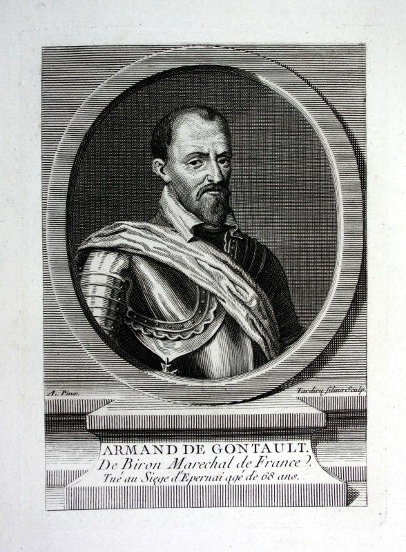 18. Jh. Armand de Gontaut Feldherr general Kupferstich Portrait engraving