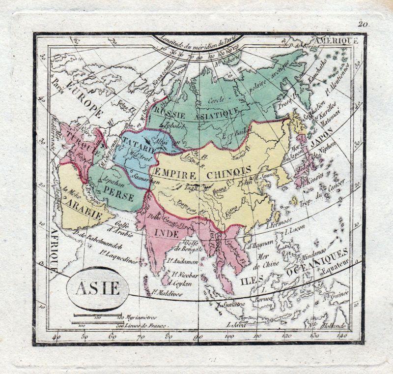 Ca.1800 Asia Asien China Türkiye Persia Arabia Japan India Karte map Kupferstich