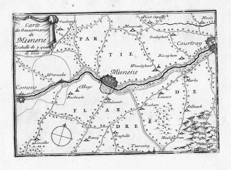 1680 - Menen Kortijk Comines carte estampe Beaulieu Kupferstich gravure