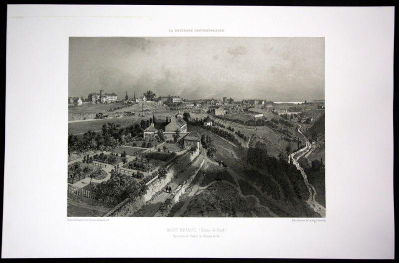 Ca. 1860 Saint Brieuc Ansicht vue Bretagne Frankreich France Lithographie