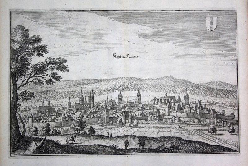 1698 Kaiserslautern Gesamtansicht Ansicht view Kupferstich antique print Merian