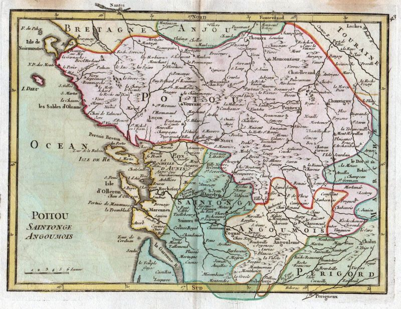 1767 La Rochelle France gravure carte map Kupferstich antique print Le Rouge