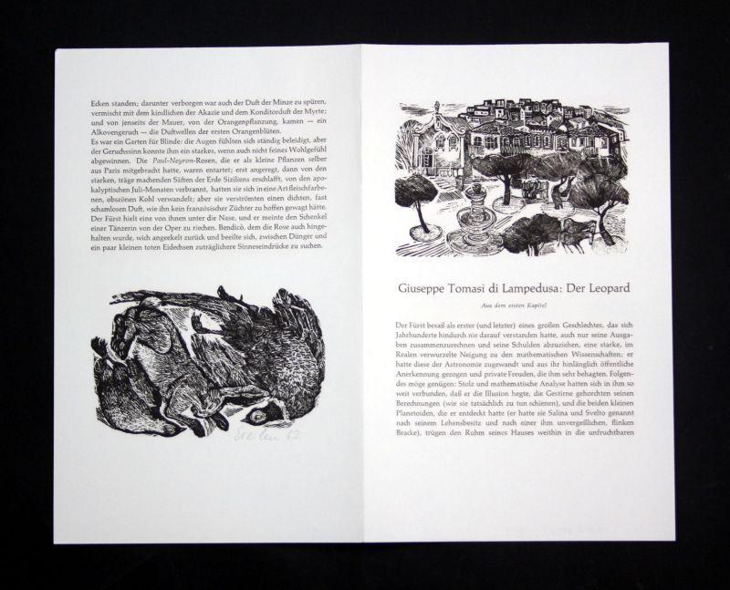 1962 Klaus Eberlein Guiseppe Tomasi di Lampedusa Linolschnitt Leopard signiert