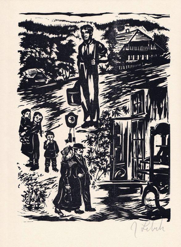 1982 Johannes Lebek Original-Holzschnitt zu seinen Erinnerungen signiert