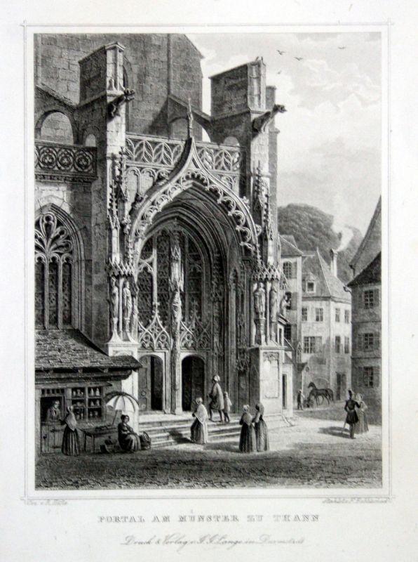 1850 Portal Münster Freiburg Thann Kirche gravure Stahlstich Hablitscheck Höfle
