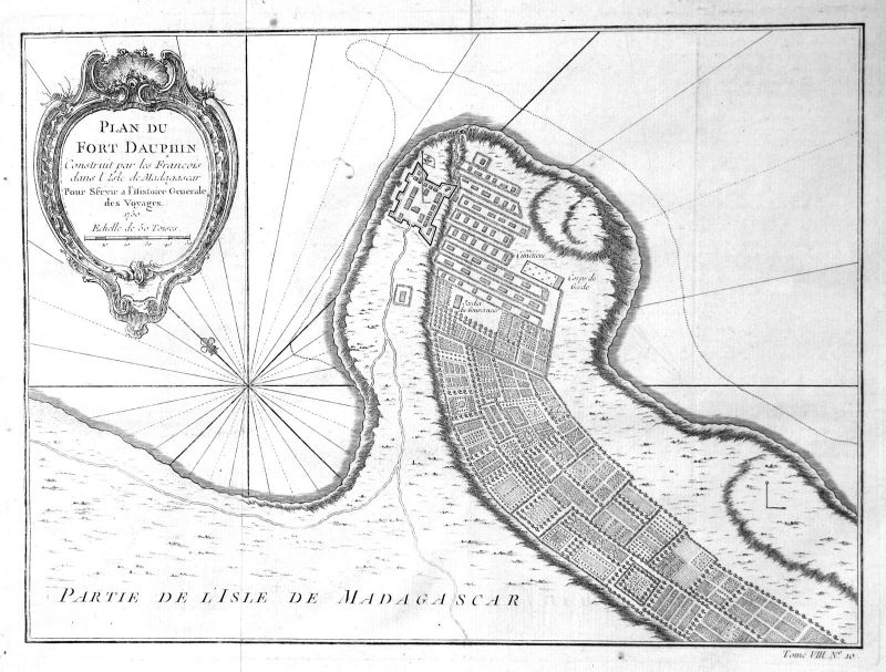 1750 Tolagnaro Tolonaro Madagascar Karte map Kupferstich antique print Bellin