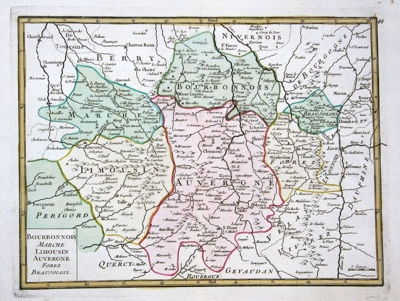 1767 Limousin France gravure carte Karte map Kupferstich antique print Le Rouge