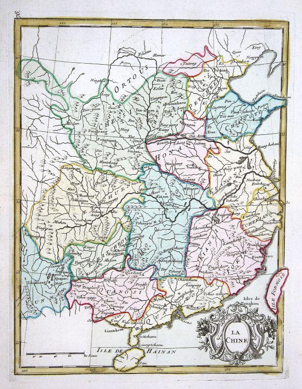 1767 China Taiwan Hainan Asia Asien Karte map Kupferstich antique print L 159560