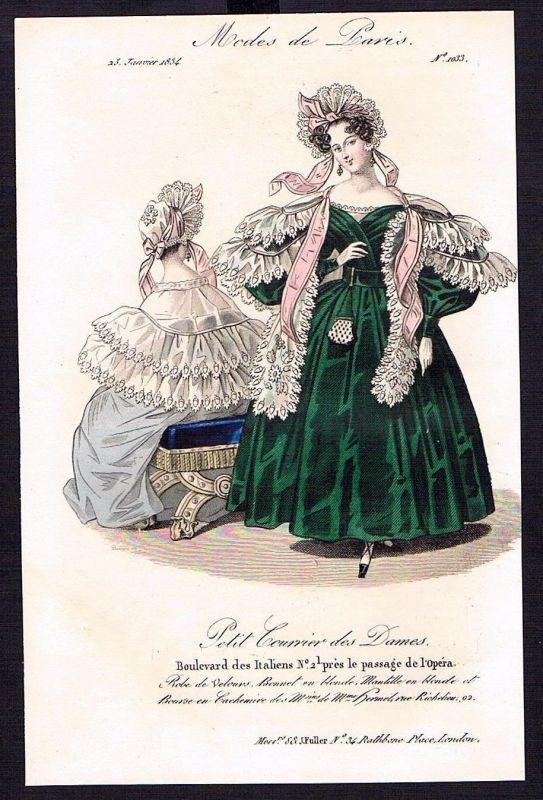 1833  Biedermeier Mode Kupferstich victorian fashion antique print Paris e 61695