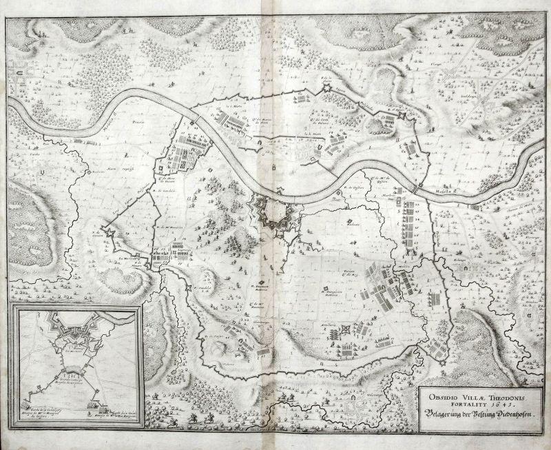 Thionville siege bataille gravure plan Kupferstich antique print Merian ca. 1650