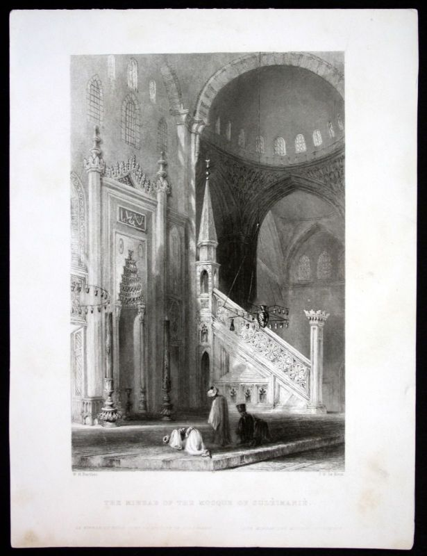 Ca. 1850 Mihrab Süleymaniye Camii Moschee Istanbul Stahlstich steel engraving