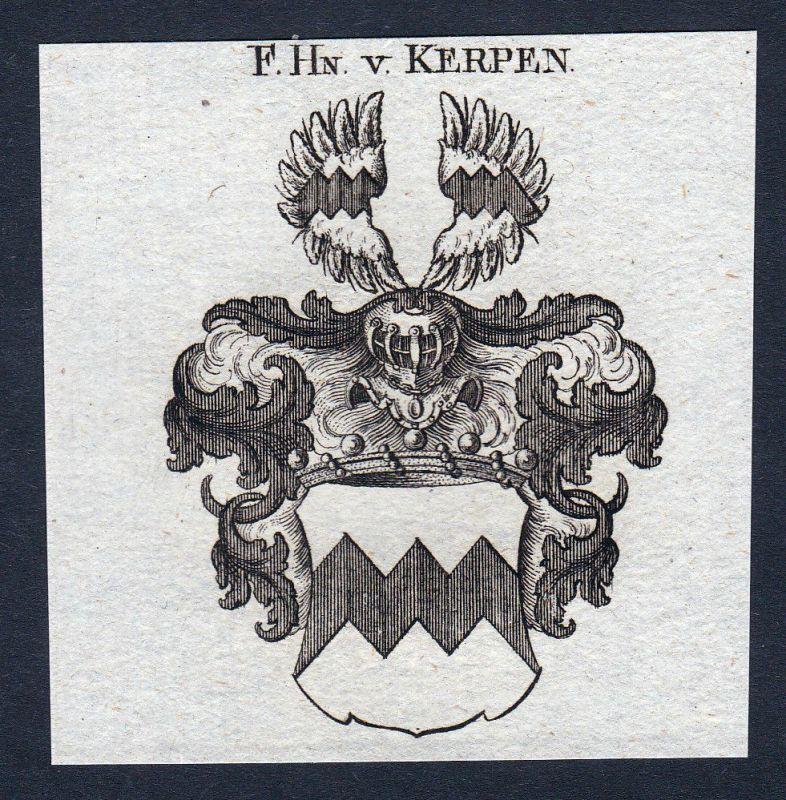 1820 Kerpen Nordrhein-Westfalen Wappen Adel coat of arms Kupferstich engraving