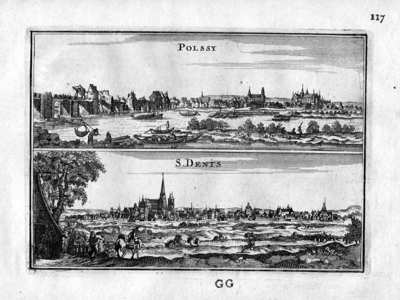 1666 Poissy Yvelines Saint-Denis Paris Frankreich France gravure estampe