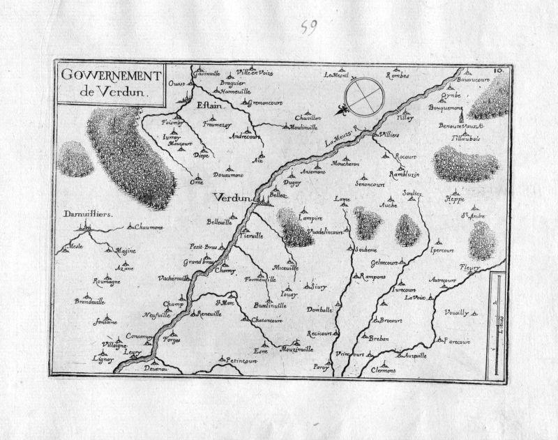 Ca. 1630 Verdun Meuse Lorraine Maas Frankreich France gravure carte Tassin