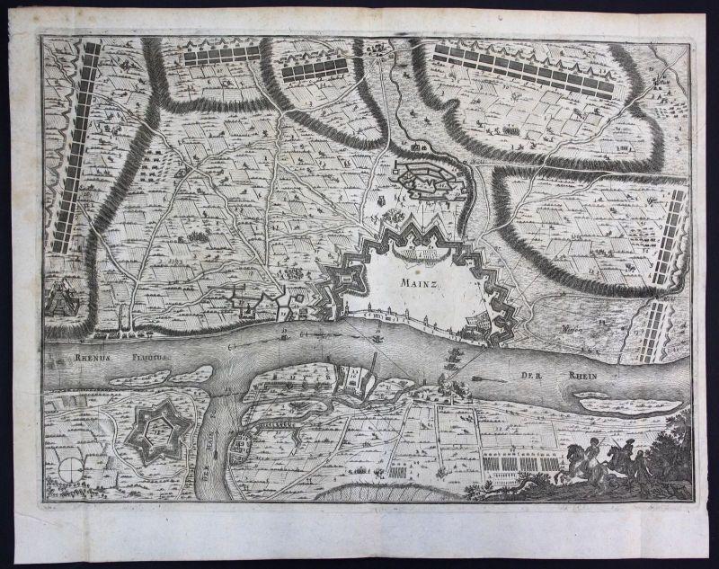 1698 Mainz Festung Plan Rhein Main Ansicht view Kupferstich antique print Merian