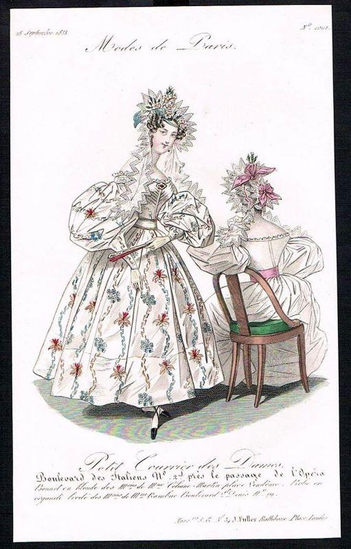 1833  Biedermeier Mode Kupferstich victorian fashion antique print Paris e 89259