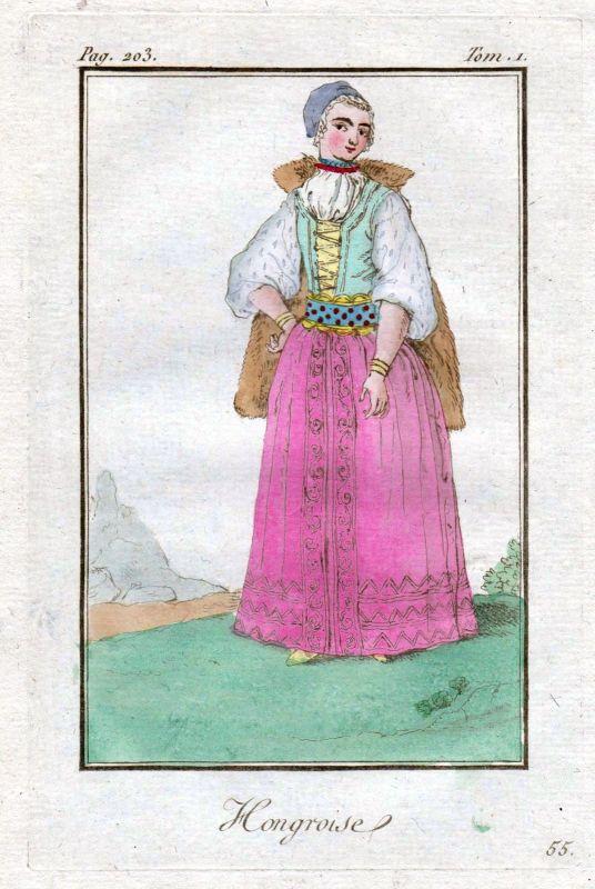 1780 Hungary Ungarn costume Trachten Kupferstich antique print