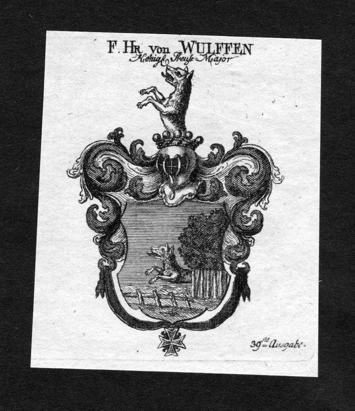1820 - Wulffen Adel coat of arms heraldry Heraldik Kupferstich