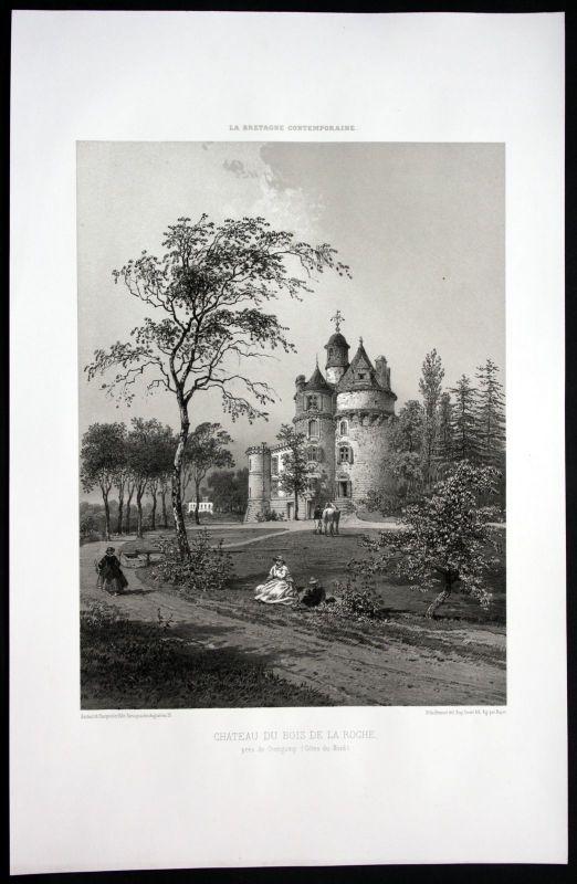 1860 - Bois de la Roche Chateau Guingamp Bretagne Frankreich France Lithographie
