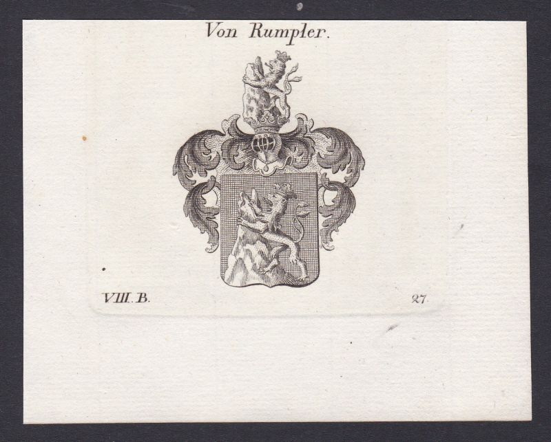1820 Rumpler Wappen Adel coat of arms Heraldik Kupferstich antique print