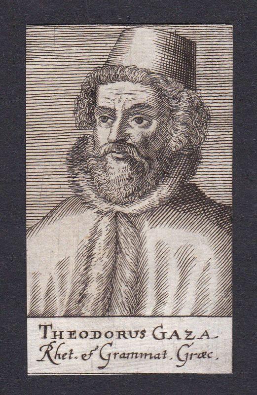 17. Jh. - Theodorus Gaza / humanist translator Portrait Kupferstich