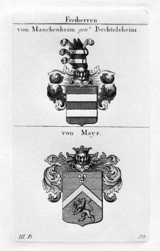 Mauchenheim Bertolsheim Mayr - Wappen Adel coat of arms heraldry Heraldik Kupfer