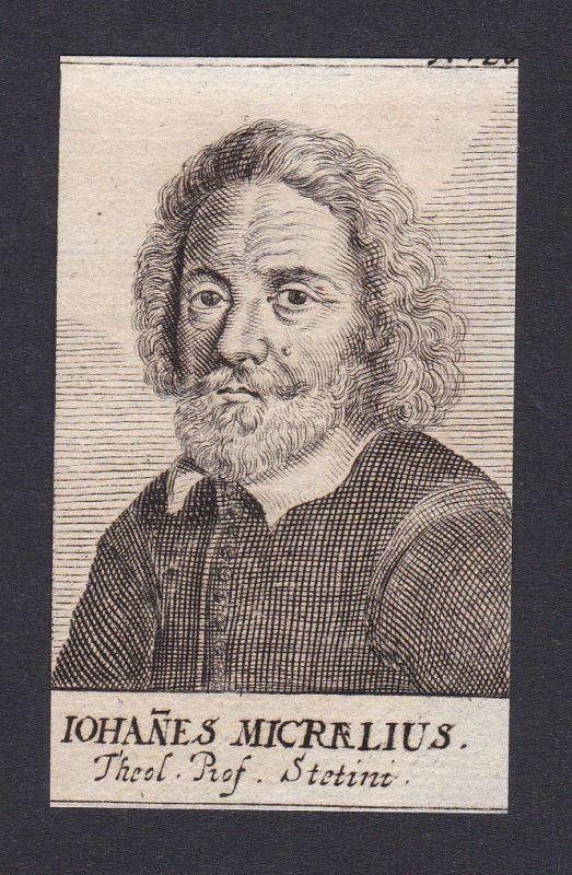 17. Jh. Johannes Micraelius / poet Dichter Stettin Portrait Kupferstich