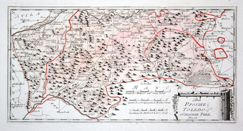 Spanien Spain Portugal Toledo Alcoba Torrijos map Reilly engraving Kupferstich