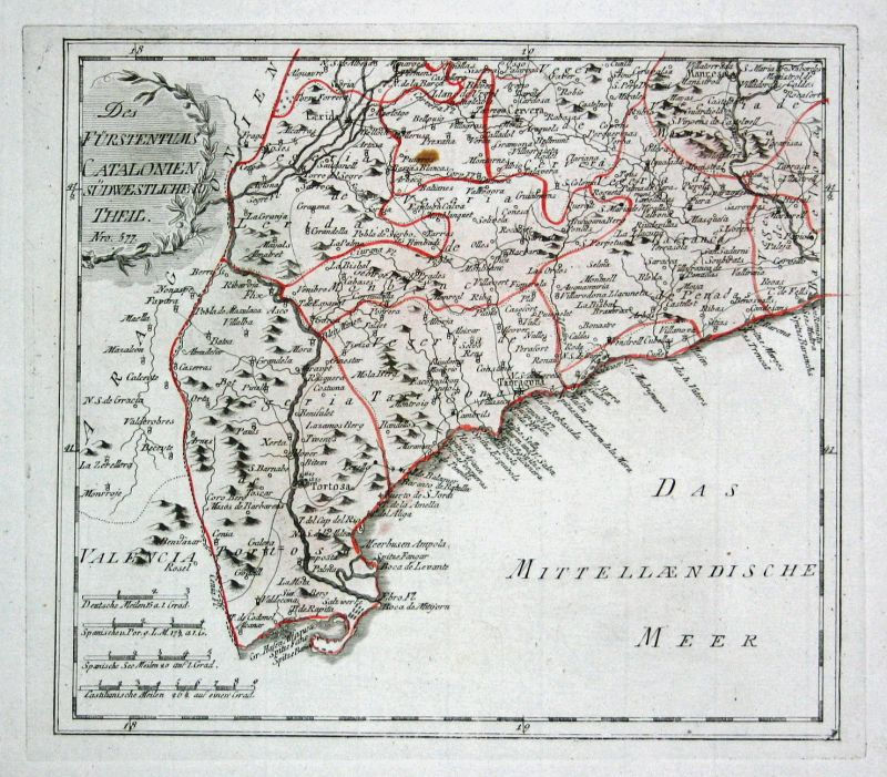 Spanien Spain Portugal Katalonien Tortosa map Karte Reilly engraving Kupferstich