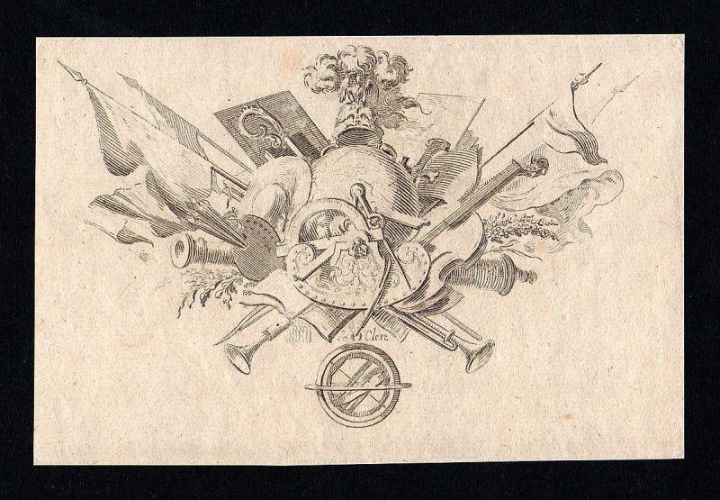 Ornament Waffen Flaggen Weltkugel Malerei Kupferstich antique print ca. 1700